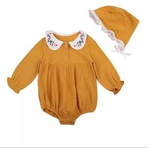 Other - NWT Mustard Romper & Cap Set